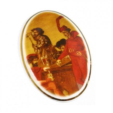 Wandplatte mit Gemälde aus dem Auerbachs Keller