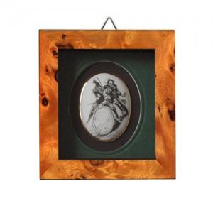 Lithografie mit Faust und Mephisto auf dem Weinfass reitend