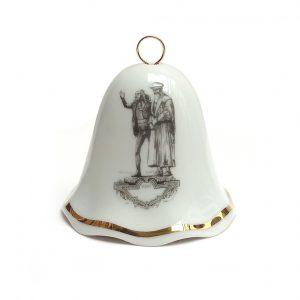 Glocke aus Porzellan Meissen mit Auerbachs Keller Figurengrruppe Faust und Mephisto von Oswin Volkamer Leipzig