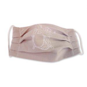 Stoffmaske aus Serviettentuch mit historischem Auerbachs Keller Logo. Geschlossene Bänder.